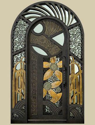 Porte d entr e en fer forg porte en fer porte en for Porte salon fer forge