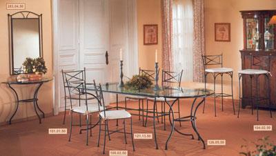 Magasin meuble et d coration salle a manger fer forg - Salle a manger en fer forge et verre ...