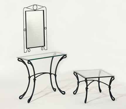 miroir en fer forg commode en fer forg console en. Black Bedroom Furniture Sets. Home Design Ideas
