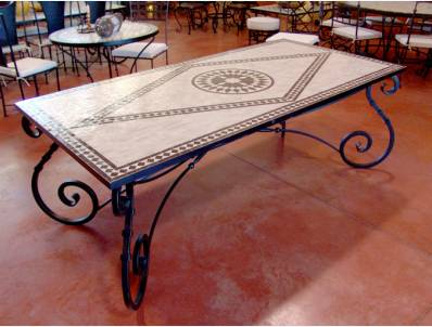Table jardin zellige -  table de jardin - mobilier de jardin -  table en zellige