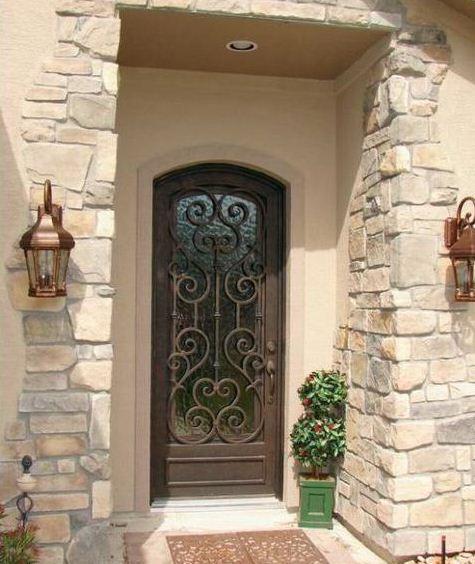 Porte d entr e en fer forg porte en fer porte en acier design for Porte entree fer forge villa